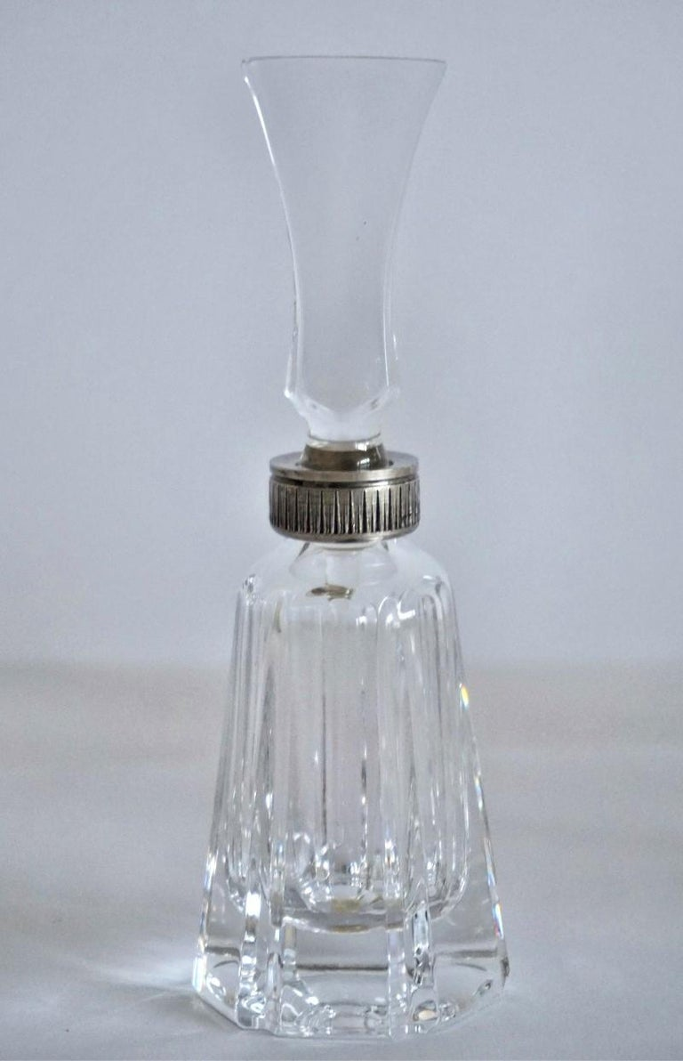 20th Century Set of Six Art Deco Atlantis Crystal and Silver Perfume Bottles For Sale