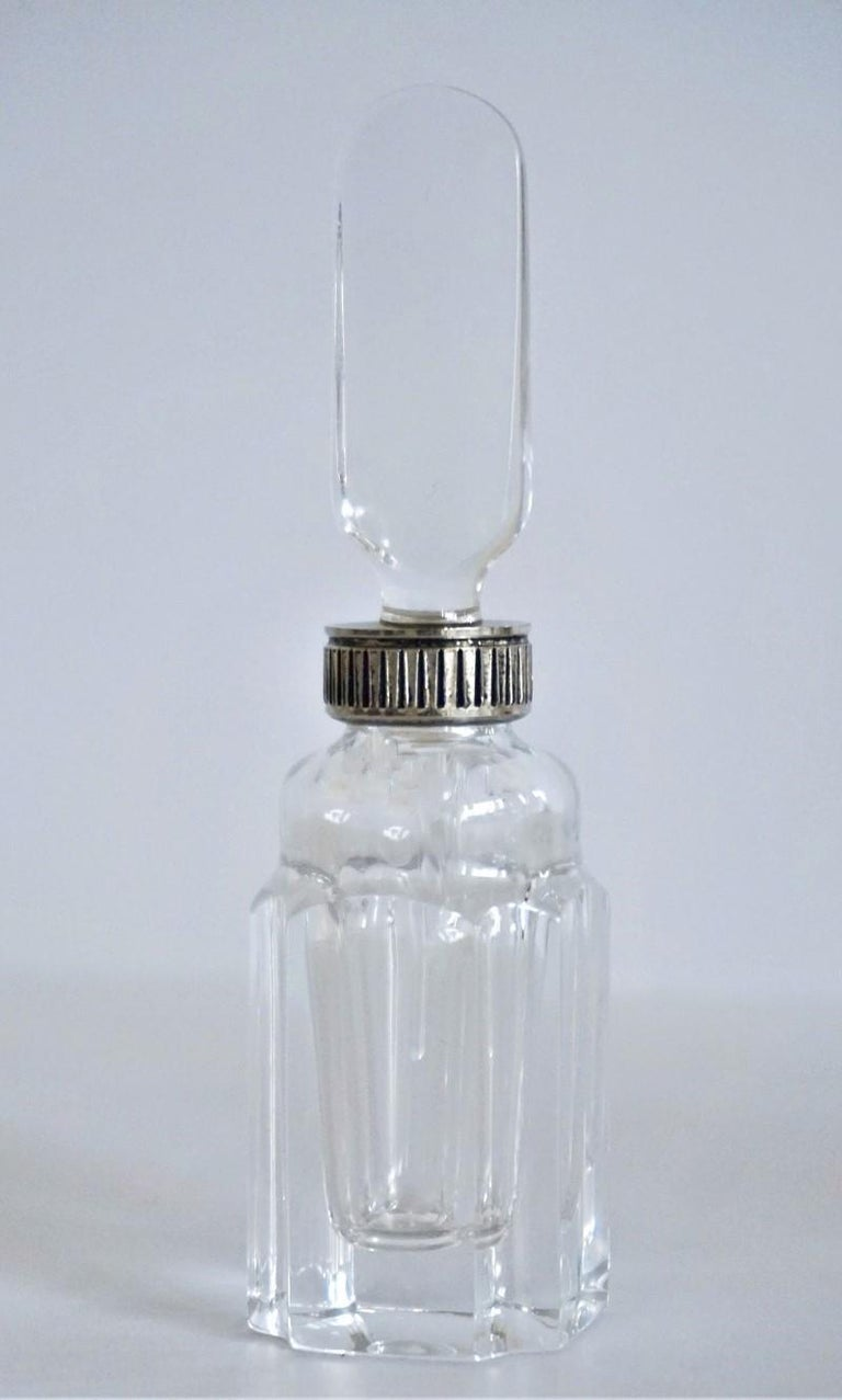 Set of Six Art Deco Atlantis Crystal and Silver Perfume Bottles For Sale 4