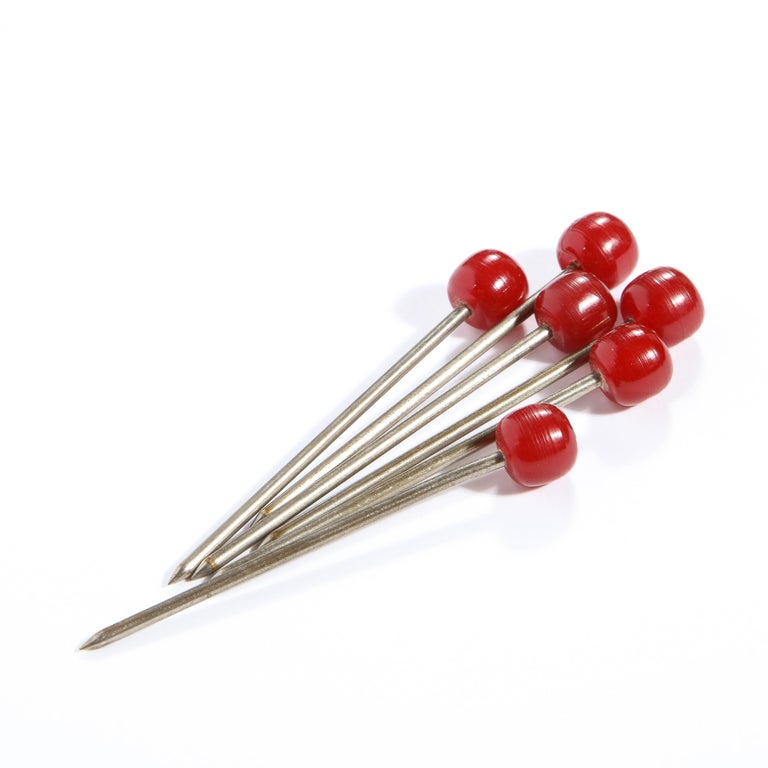 Set of Six Art Deco Carnelian Bakelite and Stainless Steel Cocktail Picks For Sale 1