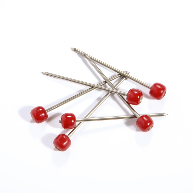 Set of Six Art Deco Carnelian Bakelite and Stainless Steel Cocktail Picks For Sale 2