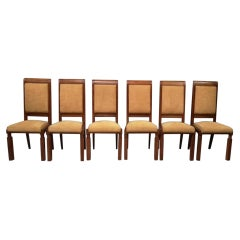 Set of Six Art Deco Chairs by Baptistin Spade