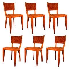 Set of Six Art Deco Chairs in Mahogany and Elm Burl, circa 1930