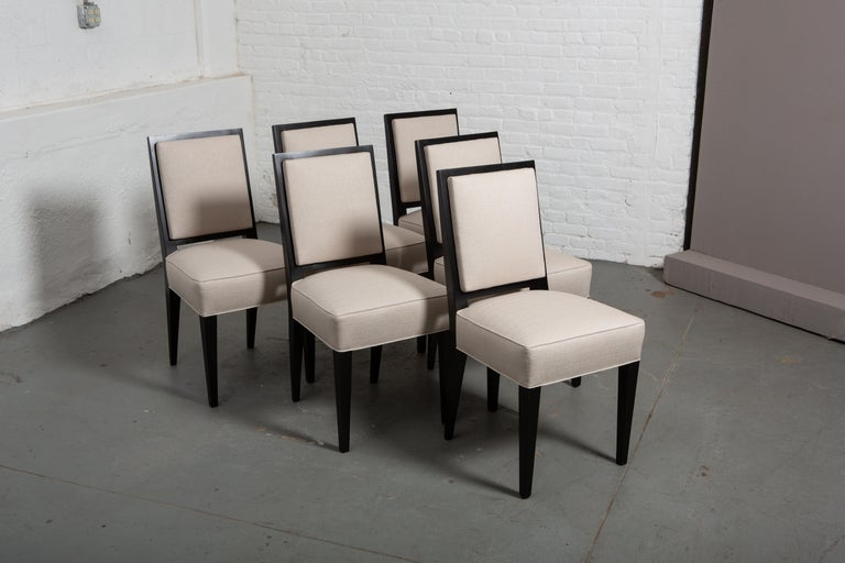 French Set of Six Art Deco Style Dining Chairs For Sale