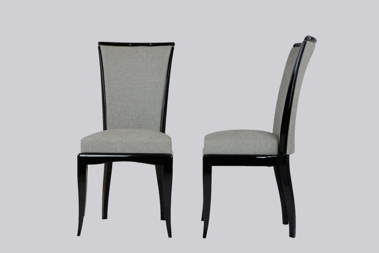 Set of six Art Deco chairs France, circa 1930 Restored state black lacquer, newly upholstered Measures: Height 97.5 cm, width 42.5 cm, depth 48 cm, seat height 47 cm.  Delivery can be made to your door within 7 working days worldwide. We