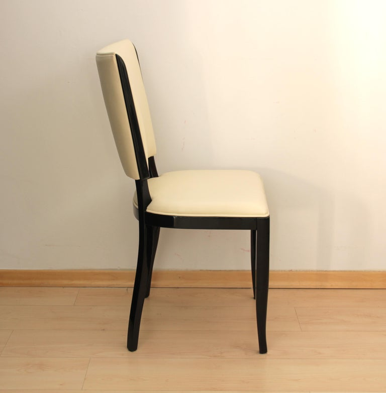 Lacquered Set of Six Art Deco Dining Chairs, France, circa 1930 For Sale
