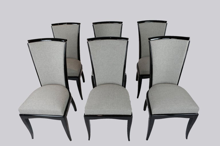 Set of Six Art Deco Dining Chairs, France, circa 1930 For Sale 1
