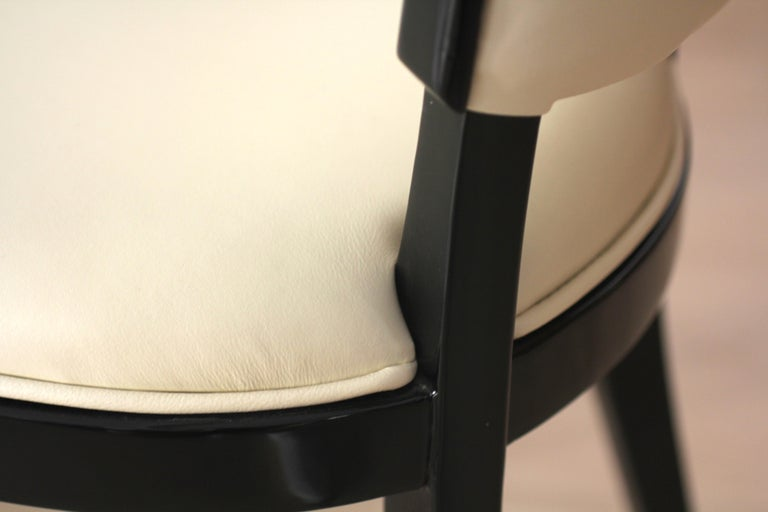 Leather Set of Six Art Deco Dining Chairs, France, circa 1930 For Sale