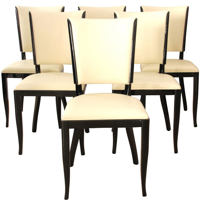 Set of Six Art Deco Dining Chairs, France, circa 1930 For Sale