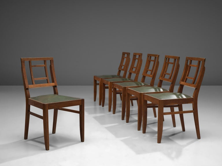 Set of Six Art Deco Dining chairs in Darkened Oak In Good Condition For Sale In Waalwijk, NL