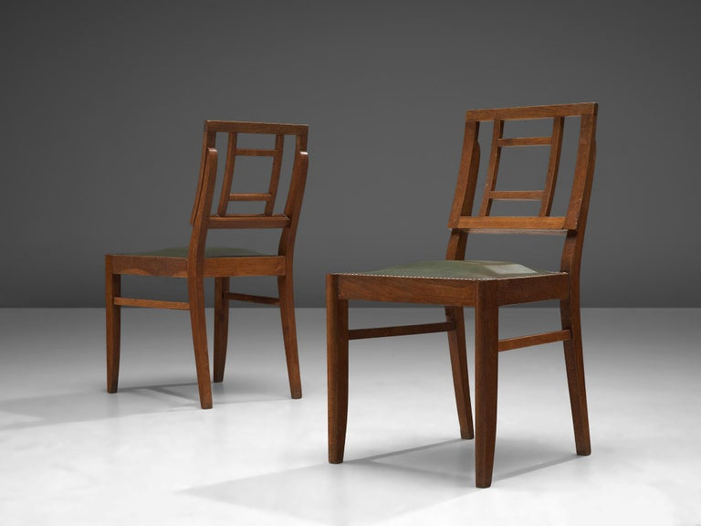 Mid-20th Century Set of Six Art Deco Dining chairs in Darkened Oak For Sale