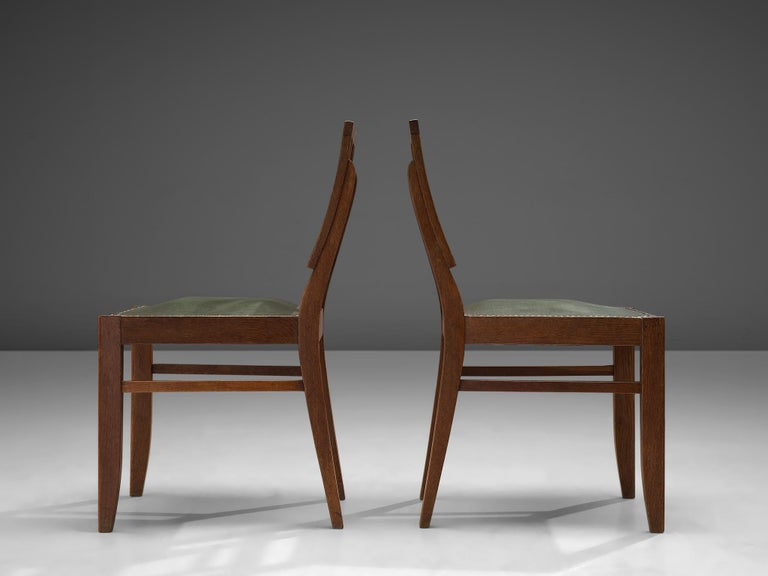 Set of Six Art Deco Dining chairs in Darkened Oak For Sale 1