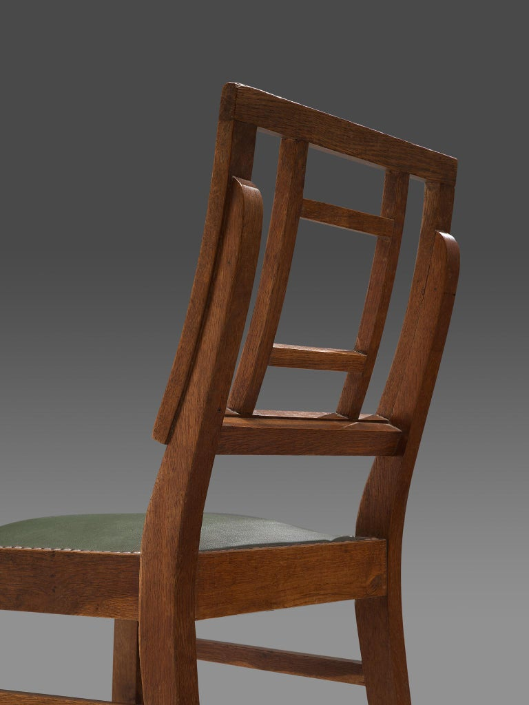 Set of Six Art Deco Dining chairs in Darkened Oak For Sale 2