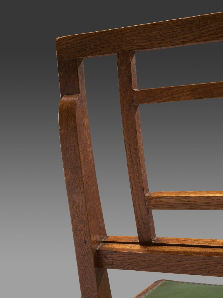 Set of Six Art Deco Dining chairs in Darkened Oak For Sale 3