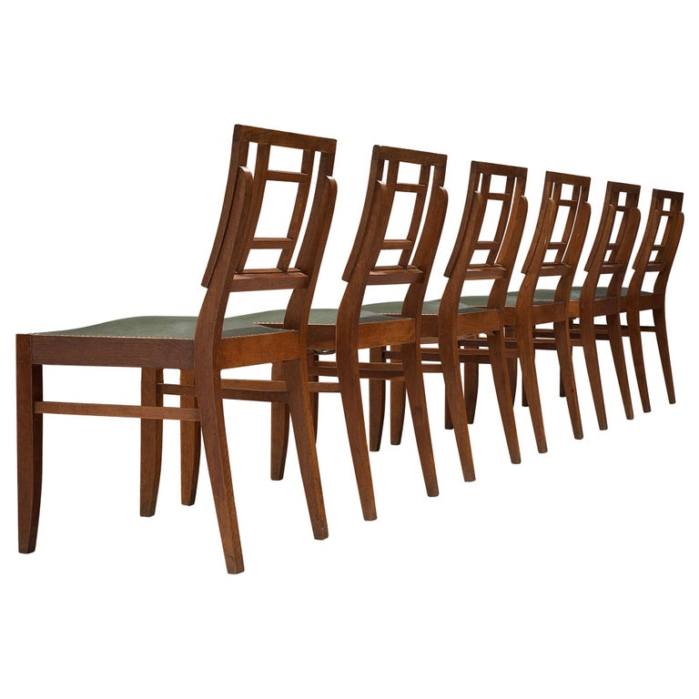 Set of Six Art Deco Dining chairs in Darkened Oak For Sale