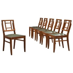 Set of Six Art Deco Dining Chairs in Darkened Oak
