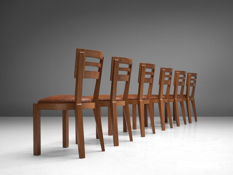 Mid-Century Modern Set of Six Art Deco Dining Chairs in Solid Oak, France, 1940s For Sale