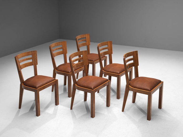 French Set of Six Art Deco Dining Chairs in Solid Oak, France, 1940s For Sale