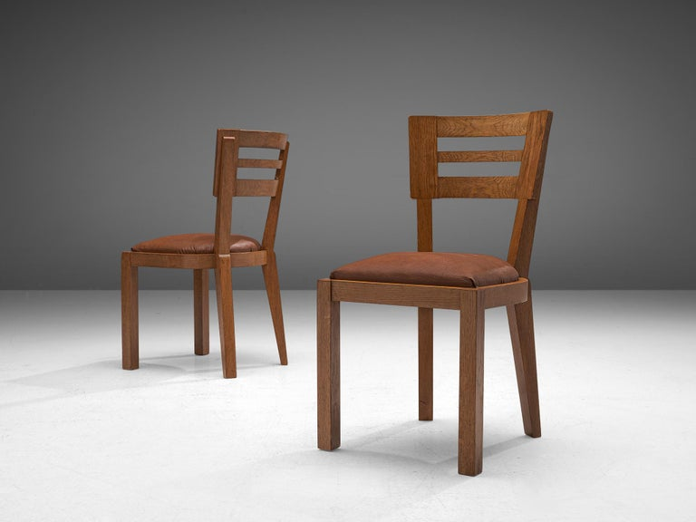 Set of Six Art Deco Dining Chairs in Solid Oak, France, 1940s In Good Condition For Sale In Waalwijk, NL