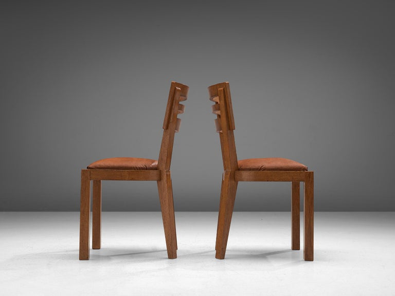 Leather Set of Six Art Deco Dining Chairs in Solid Oak, France, 1940s For Sale