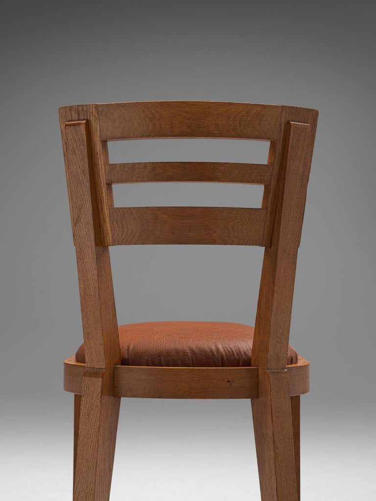 Set of Six Art Deco Dining Chairs in Solid Oak, France, 1940s For Sale 1