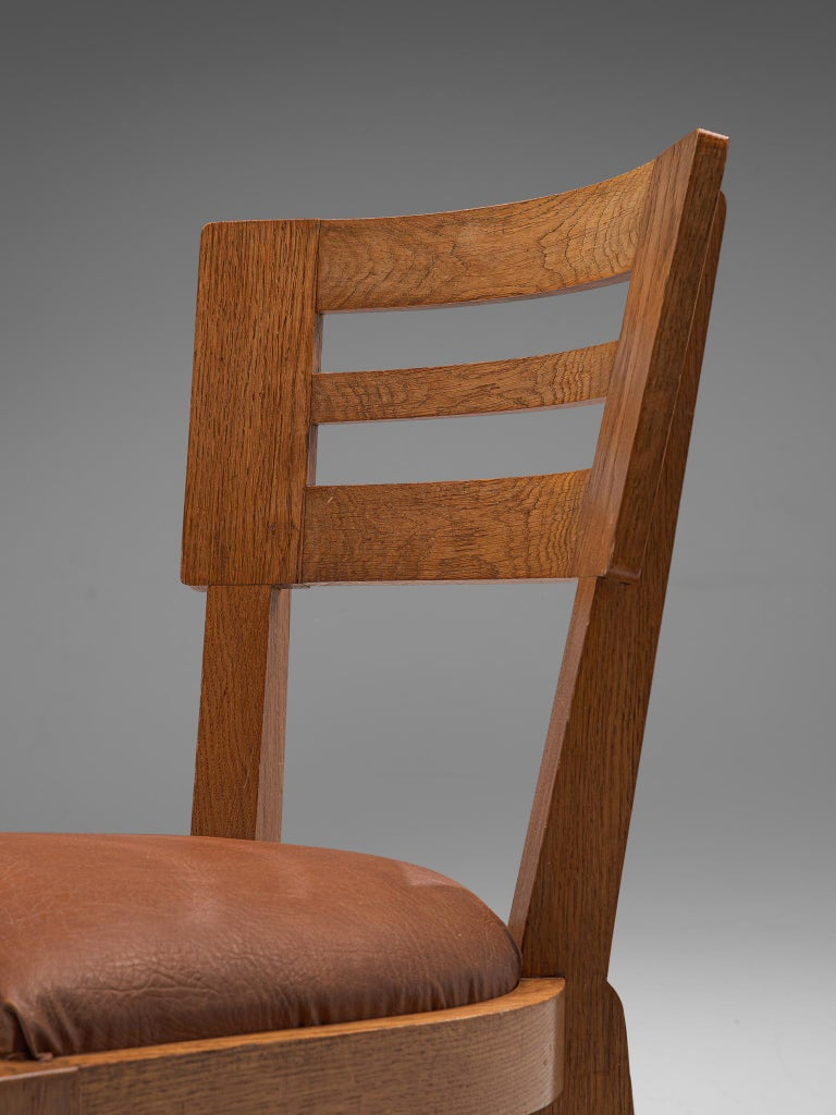 Set of Six Art Deco Dining Chairs in Solid Oak, France, 1940s For Sale 2