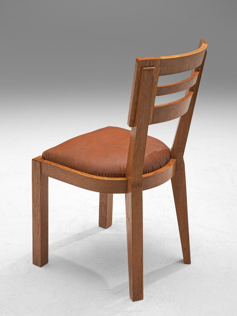 Set of Six Art Deco Dining Chairs in Solid Oak, France, 1940s For Sale 3