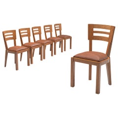 Set of Six Art Deco Dining Chairs in Solid Oak, France, 1940s