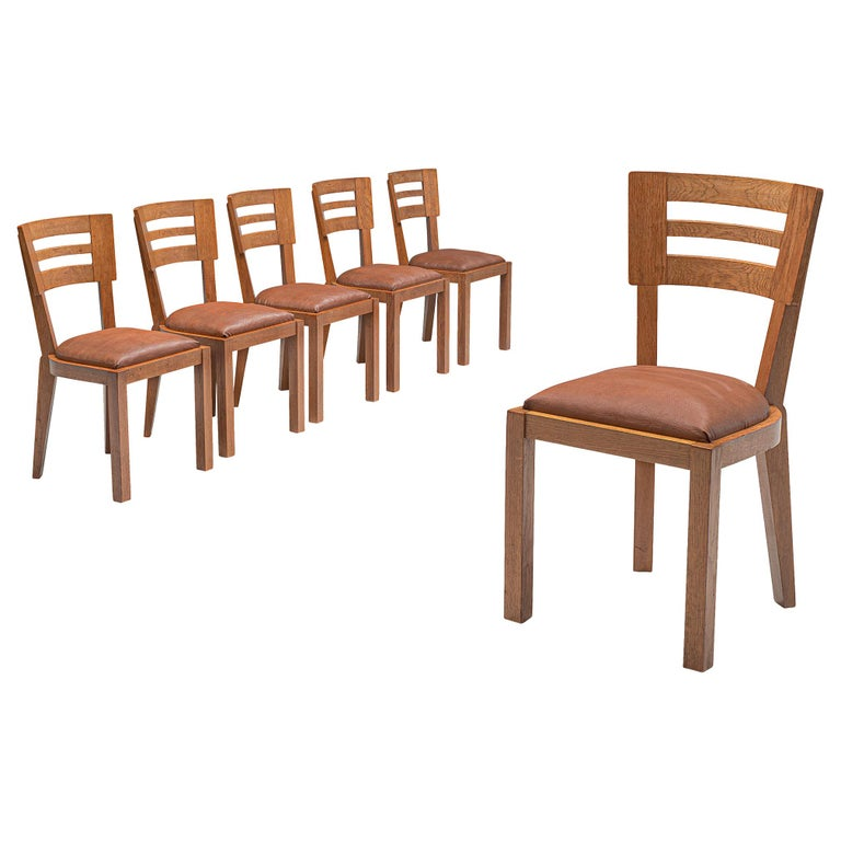 Set of Six Art Deco Dining Chairs in Solid Oak, France, 1940s For Sale