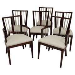 Set of Six Art Deco Dining Chairs in the Style of Grosfeld House in Mahogany