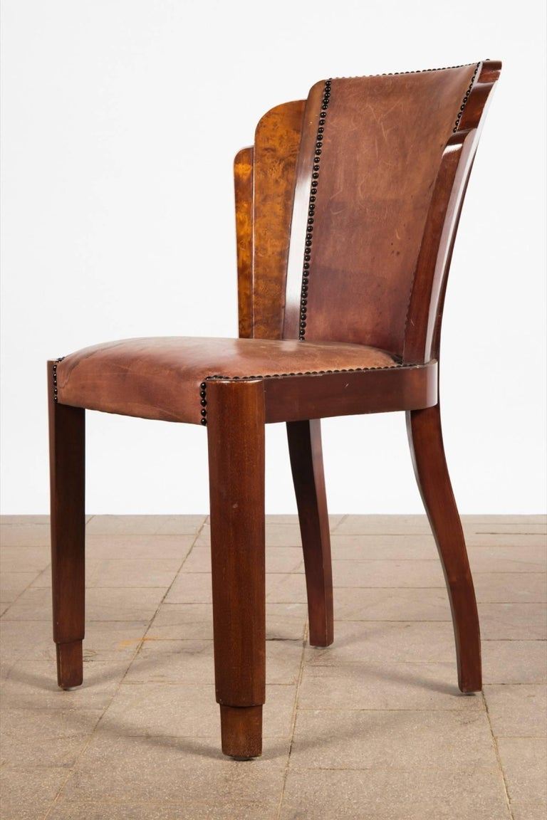 Set Of Six Art Deco Dining Chairs In Walnut Burl And