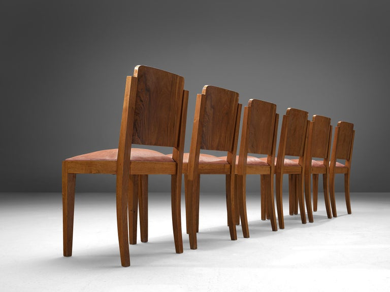 Italian Set of Six Art Deco Dining Chairs in Walnut