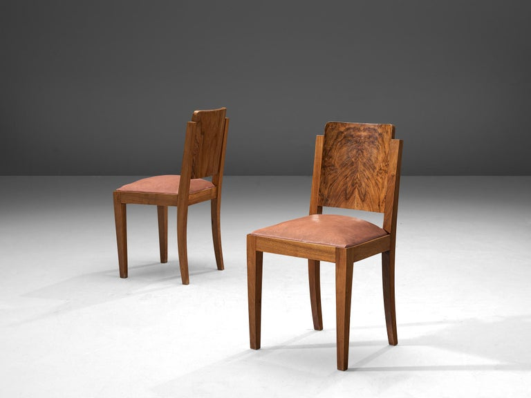Set of Six Art Deco Dining Chairs in Walnut In Good Condition In Waalwijk, NL