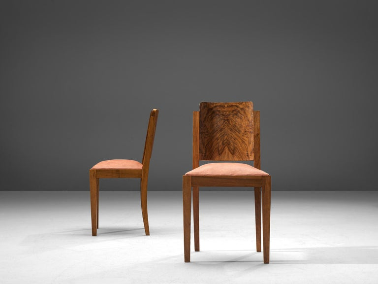 Mid-20th Century Set of Six Art Deco Dining Chairs in Walnut