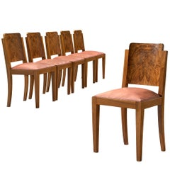Set of Six Art Deco Dining Chairs in Walnut