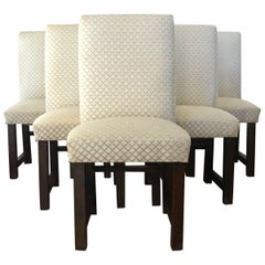 Set of Six Art Deco Dining Chairs with New Upholstery by Lizzo, Italy