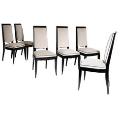 Set of Six Art Deco Dining Room Chairs, France, 1920s