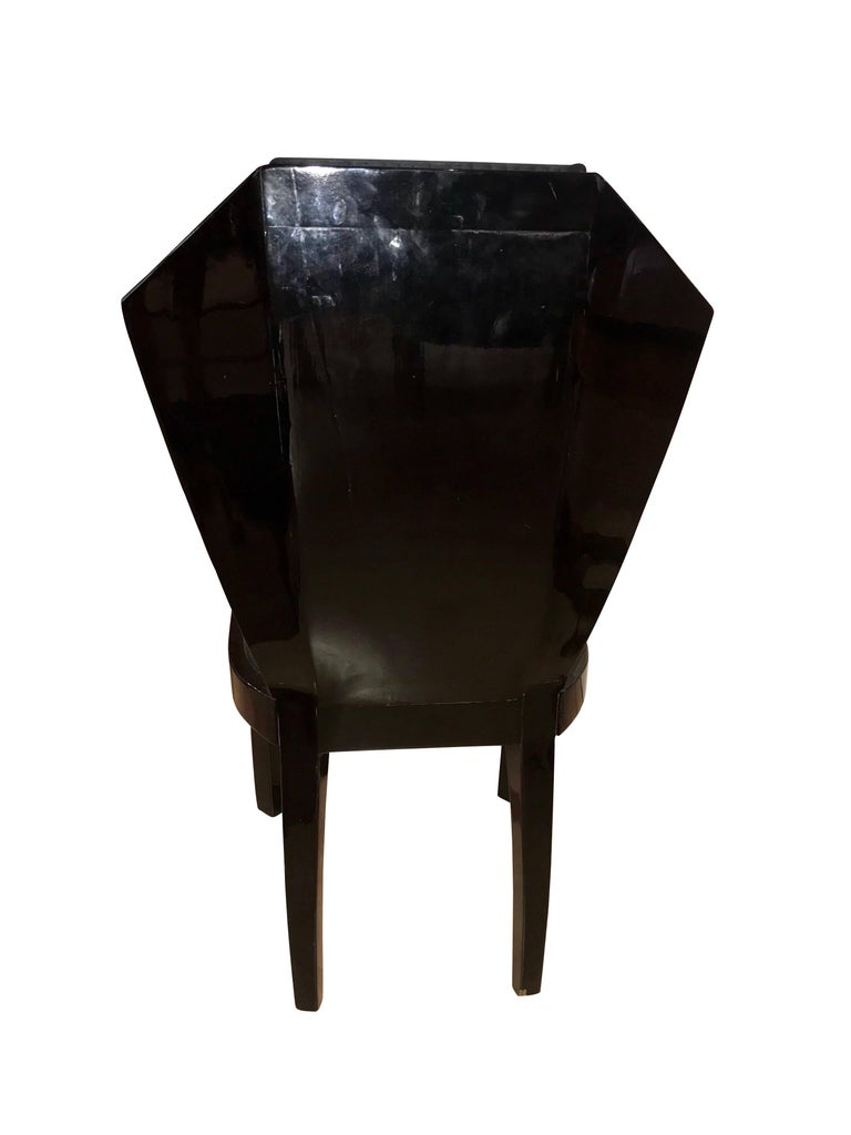 Blackened Set of Six Art Deco Dining Room Chairs, France circa 1930 For Sale