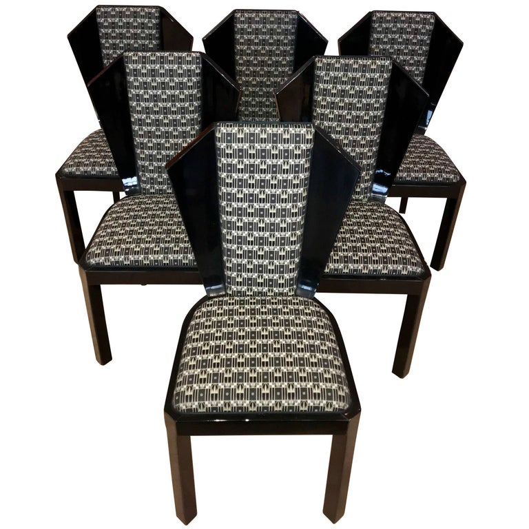 Set of Six Art Deco Dining Room Chairs, France circa 1930 For Sale