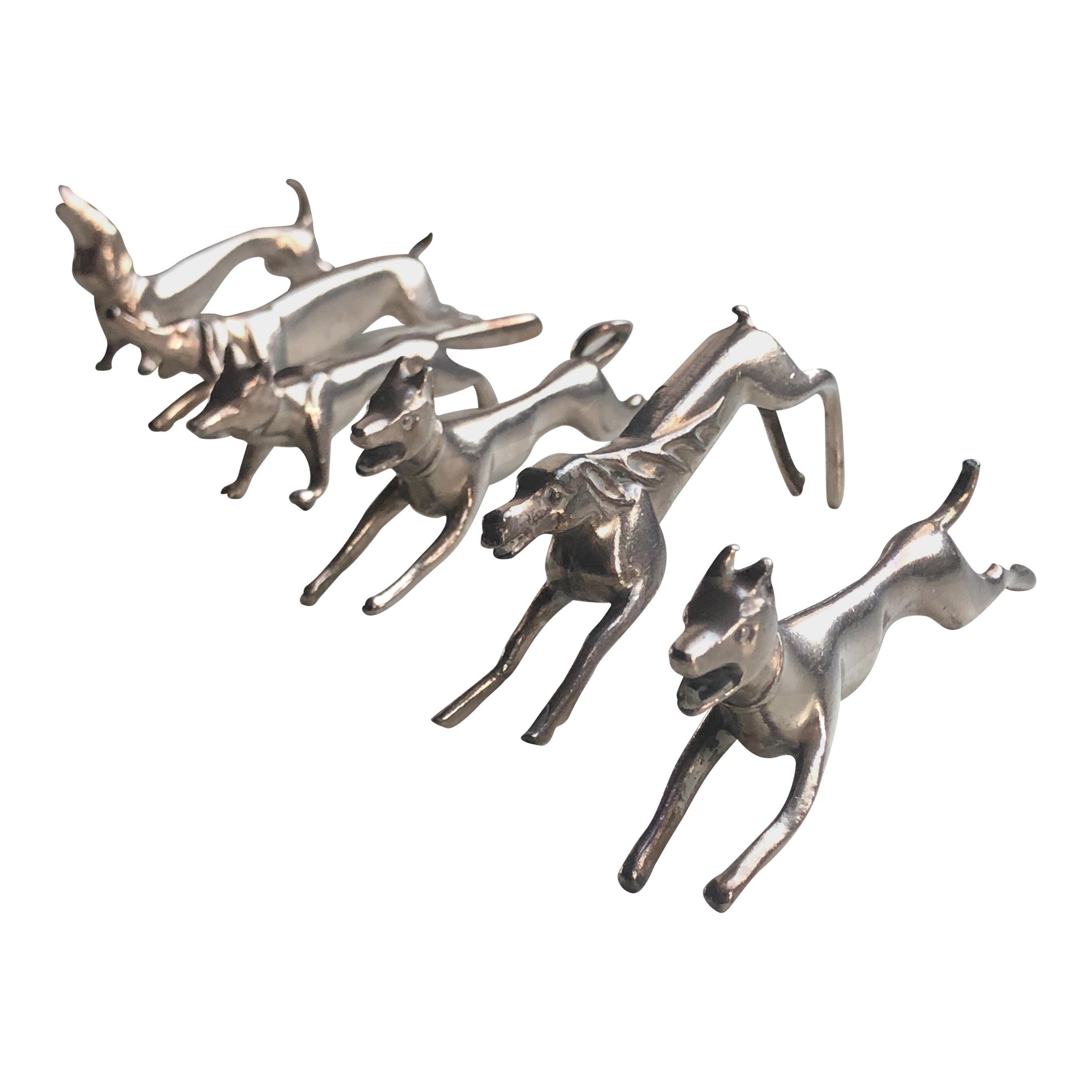 Set of Six Art Deco French Silver Plated Knife Rests Featuring Animal Figures