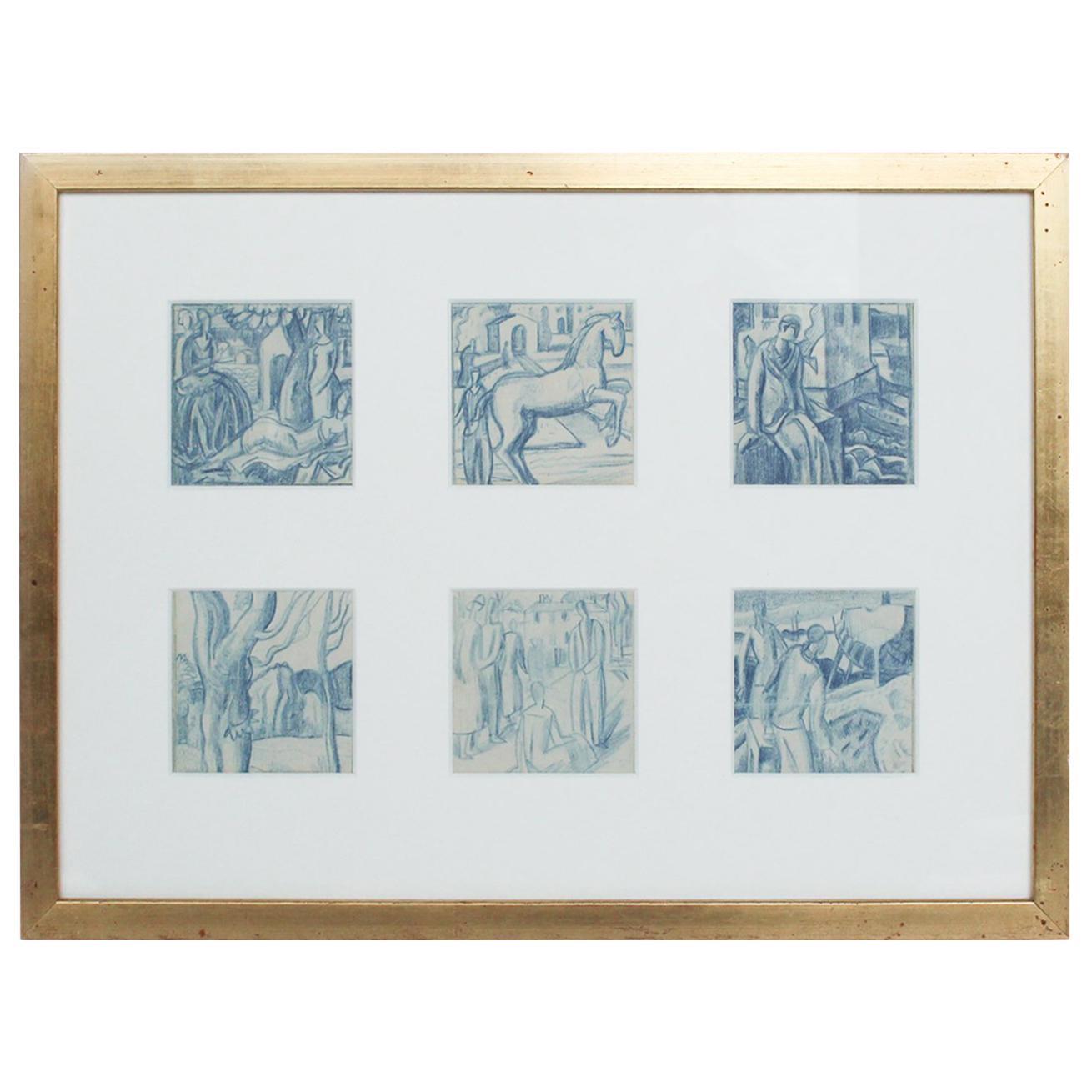 Set of Six Art Deco Illustrations