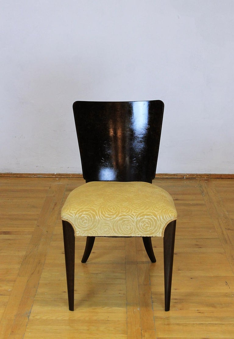 Czech Set of Six Art Deco Model H 214 Chairs by Jindrich Halabala for UP Zavody, 1930s For Sale