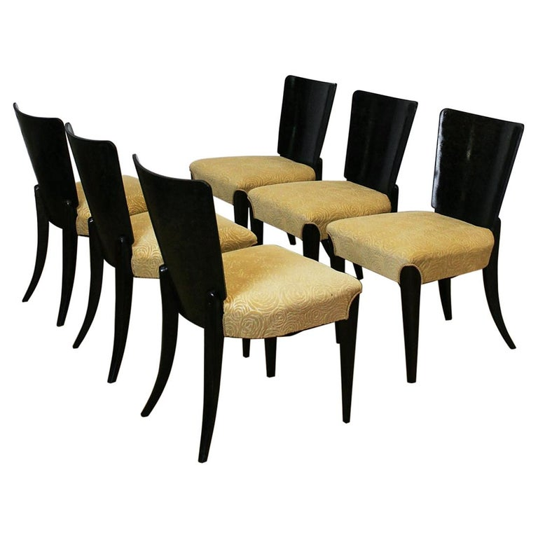Set of Six Art Deco Model H 214 Chairs by Jindrich Halabala for UP Zavody, 1930s For Sale