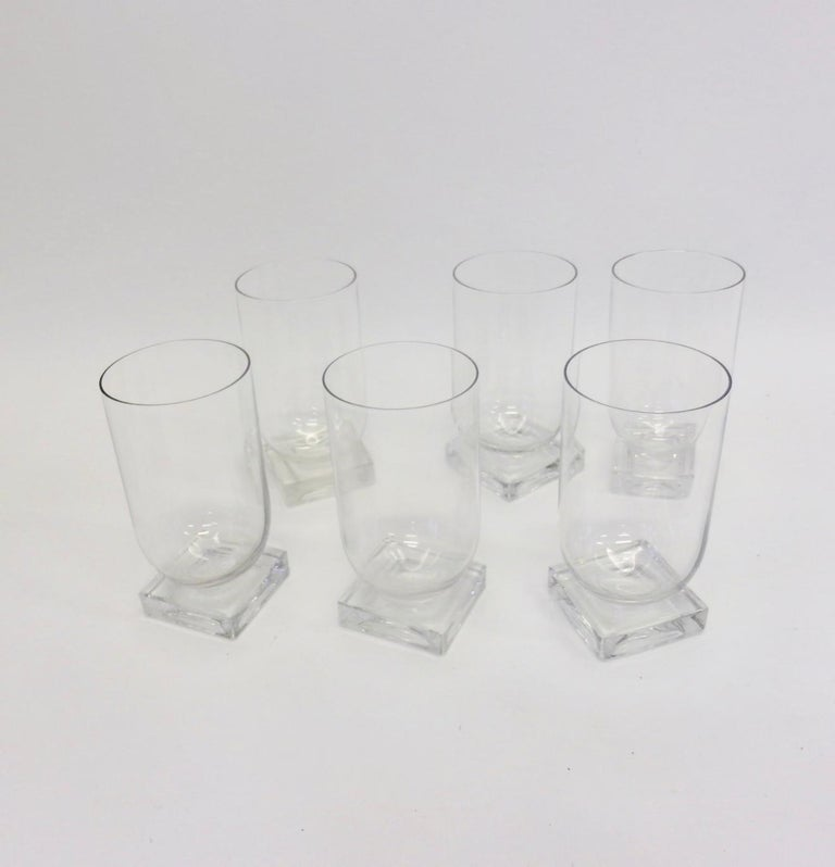 American Set of Six Art Deco Moderne Water Glasses Tumblers For Sale
