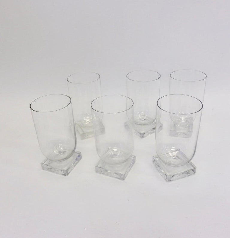 Set of Six Art Deco Moderne Water Glasses Tumblers In Excellent Condition For Sale In Ferndale, MI