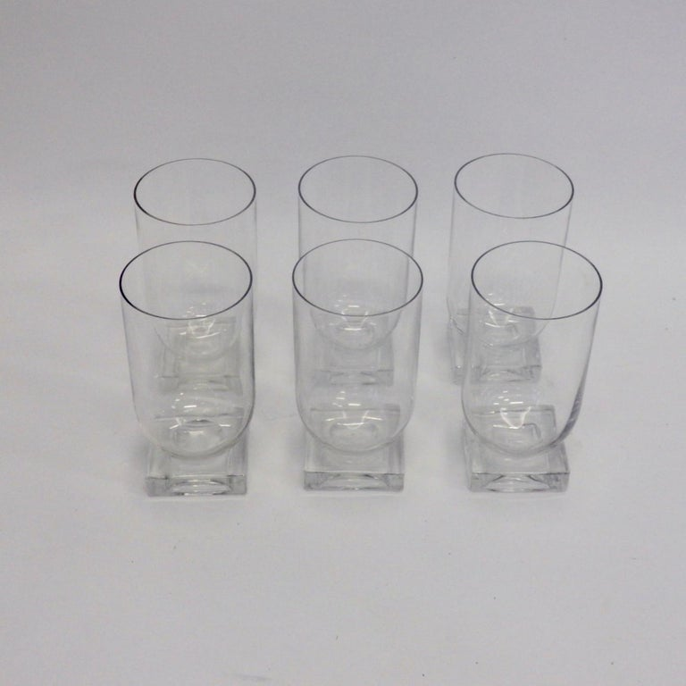 Mid-20th Century Set of Six Art Deco Moderne Water Glasses Tumblers For Sale