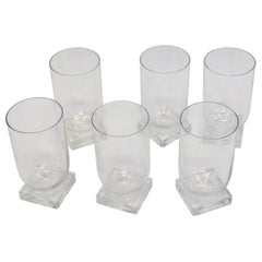 Set of Six Art Deco Moderne Water Glasses Tumblers