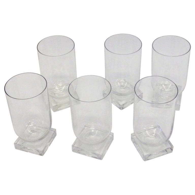 Set of Six Art Deco Moderne Water Glasses Tumblers For Sale