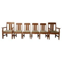 Set of Six Art Deco Oak Amsterdam School Dining Chairs '6'