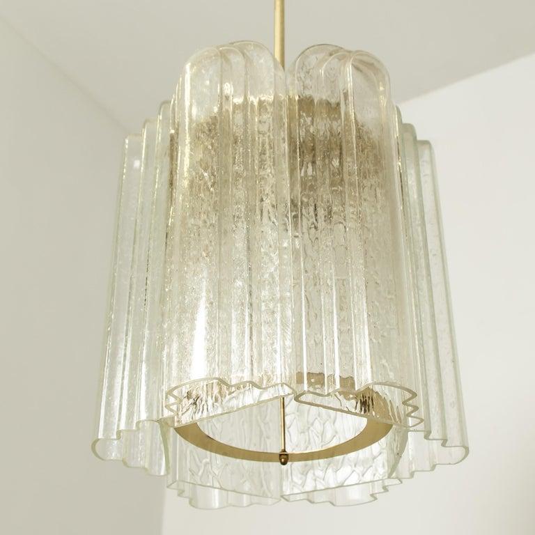 Set Of Six Art Deco Style Gl And Br Doria Pendant Lights 1960s