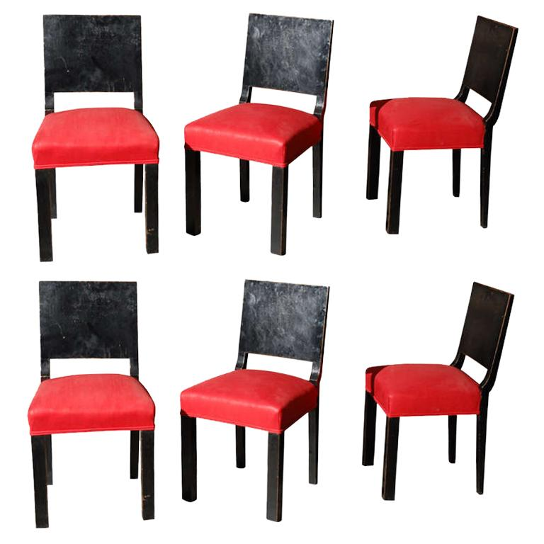Set of Six Art Deco Wood Lacquer Dining Chairs with Red Linen Upholstered Seats